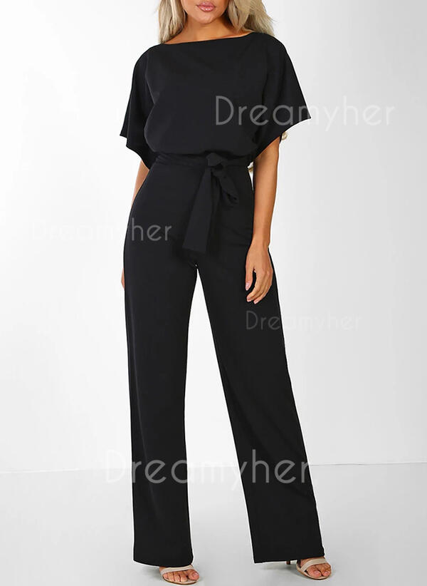 Solid Short Sleeves Casual Jumpsuits Dresses