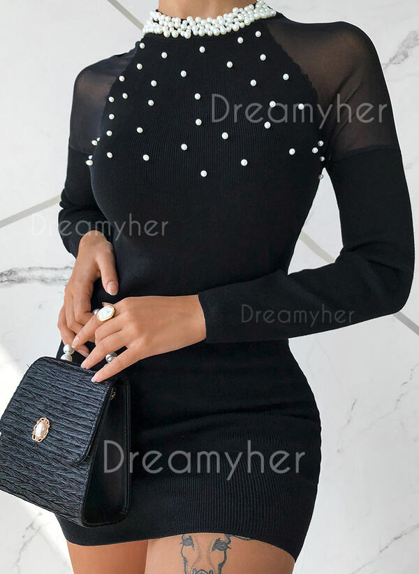 Solid/Beaded Long Sleeves Bodycon Above Knee Little Black/Elegant Sweater Dresses