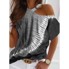 Tie Dye One-Shoulder Short Sleeves Casual Blouses
