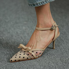 Women's PU Stiletto Heel Sandals Pumps Closed Toe Heels Pointed Toe With Bowknot Buckle Hollow-out Dot shoes