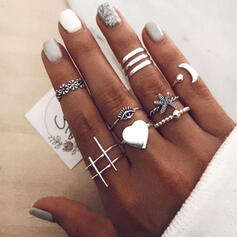Vintage Boho Heart Valentine's Day Alloy With Moon Heart Eye Starfish Women's Rings (Set of 10)
