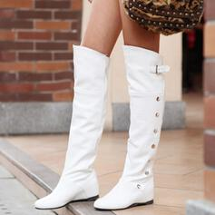 Women's Leatherette Flat Heel Knee High Boots Round Toe With Solid Color shoes