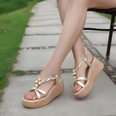 Women's PU Wedge Heel Sandals Wedges Peep Toe With Beading Hollow-out shoes