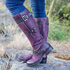Women's Leatherette Chunky Heel Knee High Boots Riding Boots Round Toe With Buckle Zipper Lace-up shoes