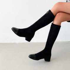 Women's PU Chunky Heel Knee High Boots Round Toe With Zipper Splice Color shoes