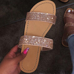 Women's Sparkling Glitter Flat Heel Sandals Peep Toe Slippers Round Toe With Sparkling Glitter shoes