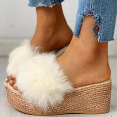 Women's Fake fur Wedge Heel Wedges Peep Toe Slippers With Faux-Fur shoes
