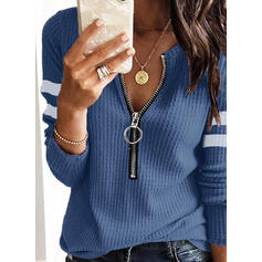 Striped Waffle Knit V-Neck Casual Sweaters