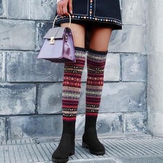 Women's PU Chunky Heel Knee High Boots With Splice Color shoes