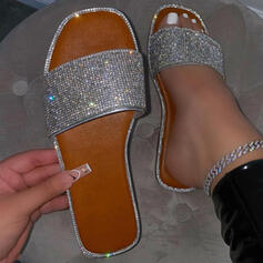 Women's Microfiber Flat Heel Sandals Flats Peep Toe Slippers With Rhinestone Hollow-out shoes