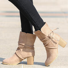 Women's Suede Chunky Heel Mid-Calf Boots Round Toe With Lace-up shoes