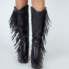 Women's Microfiber Chunky Heel Over The Knee Boots Pointed Toe With Zipper Tassel shoes