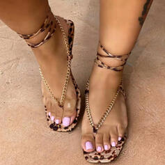 Women's PU Flat Heel Sandals Flats Peep Toe Flip-Flops With Lace-up Hollow-out shoes