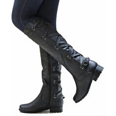 Women's PU Low Heel Chunky Heel Boots Knee High Boots With Buckle Zipper Lace-up shoes