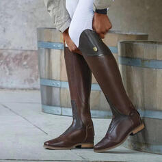 Women's PU Chunky Heel Knee High Boots Round Toe With Lace-up Solid Color shoes