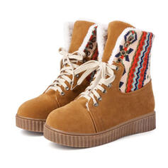 Women's Suede Flat Heel Boots Snow Boots Round Toe With Lace-up shoes