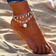 Alloy With Tag Coin Leaf Anklets 2 PCS