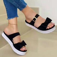 Women's PU Flat Heel Sandals Flats Peep Toe With Bowknot Solid Color shoes