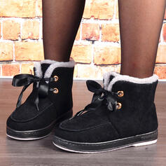 Women's Suede Flat Heel Snow Boots Round Toe With Lace-up Solid Color shoes