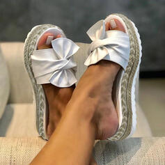 Women's Leatherette Wedge Heel Sandals Flats Platform Slingbacks Slippers With Bowknot shoes