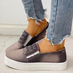 Women's Canvas Round Toe Low Top Sneakers With Elastic Band shoes