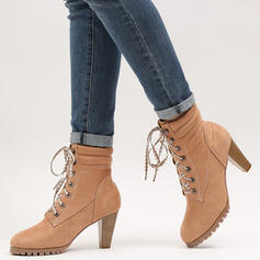 Women's PU Chunky Heel Mid-Calf Boots Round Toe With Lace-up shoes