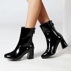 Women's PU Chunky Heel Mid-Calf Boots Round Toe With Rivet Zipper shoes