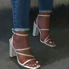 Women's PU Chunky Heel Sandals Flats Peep Toe Slippers With Buckle Solid Color shoes