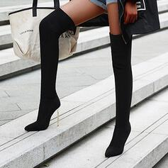 Women's Suede Stiletto Heel Over The Knee Boots Heels Pointed Toe With Animal Print shoes