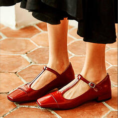 Women's PU Low Heel Sandals Flats Closed Toe Square Toe With Buckle Solid Color shoes