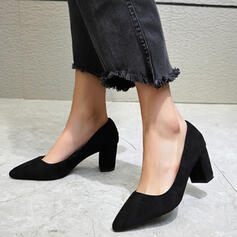 Women's Suede Chunky Heel Pumps Pointed Toe shoes
