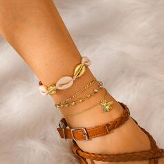 Pretty Hottest Romantic Layered Alloy With Four Little Heart Anklets 4 PCS