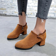 Women's Suede Chunky Heel Pumps Ankle Boots Round Toe With Zipper shoes