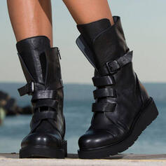 Women's PU Chunky Heel Boots Mid-Calf Boots Martin Boots Round Toe With Zipper Lace-up shoes