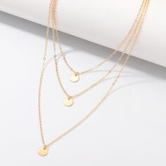 Simple Layered Alloy With Coin Necklaces 3 PCS