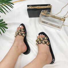 Women's PU Flat Heel Sandals Peep Toe Slippers With Rivet Hollow-out shoes