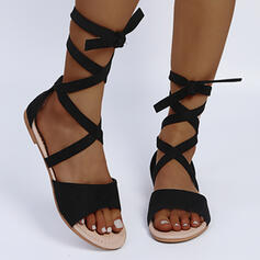 Women's Suede Flat Heel Sandals Round Toe With Lace-up shoes