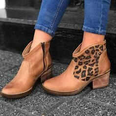 Women's PU Chunky Heel Ankle Boots Round Toe With Animal Print Splice Color shoes