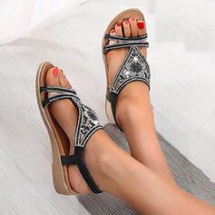 Women's Cloth Flat Heel Sandals Wedges Peep Toe With Buckle Hollow-out shoes