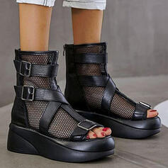 Women's PU Wedge Heel Sandals Boots Peep Toe Mid-Calf Boots With Hollow-out Solid Color shoes