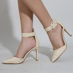 Women's PU Stiletto Heel Sandals Pumps Closed Toe Heels Pointed Toe With Buckle Hollow-out Solid Color shoes