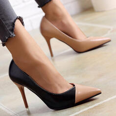 Women's PU Stiletto Heel Pumps Pointed Toe With Splice Color shoes