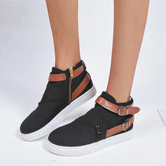 Women's Canvas Flat Heel Flats Slip On With Buckle shoes