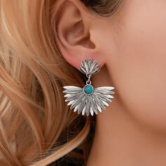 Hottest Round Alloy With Beads Earrings 2 PCS