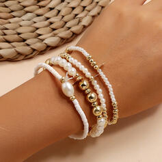 Layered Alloy Imitation Pearls Bracelets (Set of 4)