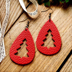 Attractive Drop Shape Christmas Alloy PU Women's Earrings 2 PCS