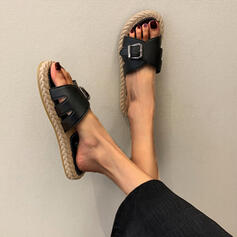 Women's PVC Flat Heel Sandals Peep Toe Slippers With Buckle Hollow-out shoes