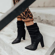 Women's PU Chunky Heel Ankle Boots Pointed Toe Martin Boots With Ruched shoes