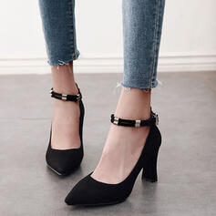 Women's PU Chunky Heel Pumps Pointed Toe With Buckle shoes