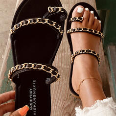 Women's PU Flat Heel Sandals Slippers With Chain shoes
